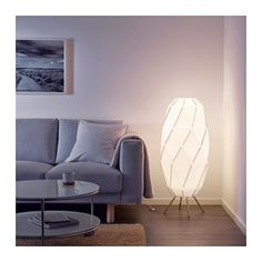 SJÖPENNA Floor lamp with LED bulb
