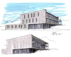 The characteristics of STEINMETZDEMEYER's projects are the scale and the connection to the site, as well as the extensive study of the details. Architecture Concept Drawings, Modern Architecture, Archi Design, Business Centre, Sketch Art, Sketching, Presentation, Inspiration, Drawings