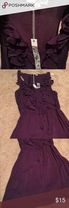 Dress Egg plant purple, light ruffle on front top, sleeveless, lined, knee length Ya Los Angeles Dresses Midi