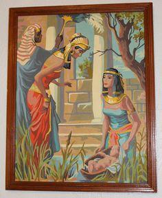 Vintage Framed Paint by Number Pharoah Moses Bible 1950s Paintings   eBay