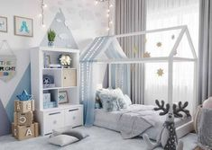 Montessori room: 100 incredible and clever projects - Home Fashion Trend Baby Bedroom, Living Room Bedroom, Dream Bedroom, Kids Bedroom, Cheap Apartment, Bohemian Style Bedrooms, Blue Pictures, Gothic Accessories, Boy Room