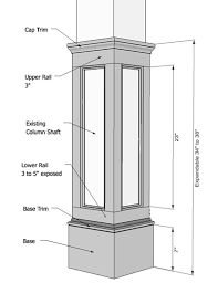 Square half recessed panelled column paint grade wood for Mdf square columns
