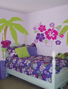 Hawaiian Hibiscus Wall Decals Stickers by WallSlicksWallDecals, $54.00