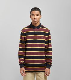 eab5310a83c Fred Perry Stripe Long Sleeved Rugby Shirt - size? Exclusive - find out  more on