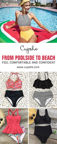 Take your beach days to the next level with high-waisted bikini sets. Soft fabric and super flattering design. So comfortale and confident. FREE shipping~ Check them out.