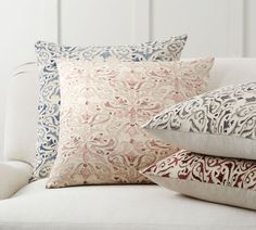 Reilley Embroidered Decorative Pillow Covers | Pottery Barn Velvet Pillows, Linen Pillows, Throw Pillows, Accent Pillows, Navy Pillows, Sofa Throw, Sofa Pillows, Bed Linens, Lumbar Pillow