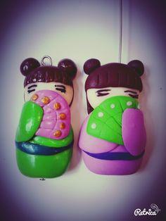 #fimo #fattoamano #bambolinagiappo #verde #rosa #ciondolo #geisha #fimocreation