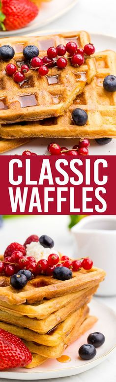 This Classic Waffles recipe is amazing, crispy exterior, tender fluffy interior. Yum.  #waffles #bisquick #breakfast #hotbreakfast