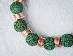 green bracelet beaded bracelet green lava stone by raflsjewelry