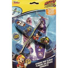 These Mickey Mouse Spinning Prop Gliders are great for any young Disney fan! Comes with one Red Glider and one Blue Glider. Each glider has real spinning propellers!.