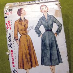 1950s Vintage Sewing Pattern   Day Dress  Collar by SelvedgeShop, $14.00