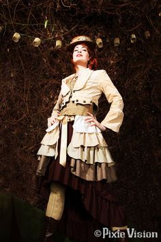 Me modeling some steampunk for ClockworkCouture.com. I'm on my own fashion board!