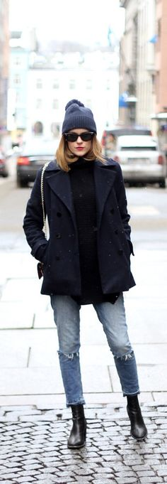 Winter Chic jeans and coat from Gina Tricot