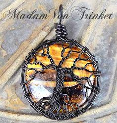 Wire Wrapped Tiger Eye Mini Tree of Life by MadamVonTrinkets