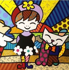 Happy little girl and cat by Britto Arte Pop, Painting For Kids, Art For Kids, Glass Painting Designs, Paper Architecture, Graffiti Painting, Cat Quilt, Puzzle Art, Retro Art