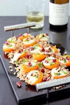 Farro, Apricots, Fresh Mozzarellla with Red Walnuts