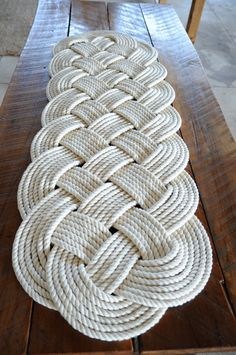 Nautical Rope Rug Large Bath Mat Off White 100% Cotton by OYKNOT