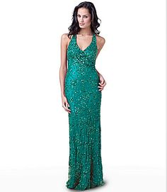 Adrianna Papell for E! Live From the Red Carpet Beaded Halter Gown