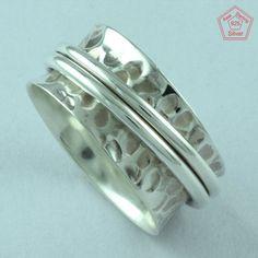 hammered design 925 Sterling Silver Spinner Ring S.8 US R2413…