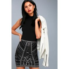 Deluxe Love Black Sequin Mini Skirt ($49) ❤ liked on Polyvore featuring skirts, mini skirts, black, high-waist skirt, high waisted sequin skirt, short sequin skirt, high waisted skirts and sequin bodycon skirt