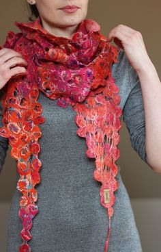 Cobweb felted shawl scarf kerchief bactus by AureliaFeltStudio