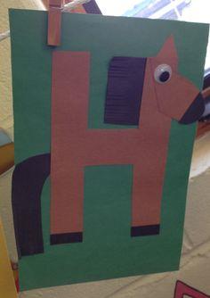 Preschool Letter H craft - letter crafts preschool alphabet Preschool Journals, Preschool Lesson Plans, Preschool Letters, Preschool Themes, Kindergarten Activities, Preschool Activities, Alphabet Letter Crafts, Abc Crafts, Daycare Crafts