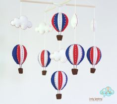 Navy and red hot air balloons baby mobile  baby by LovelySymphony, $70.00