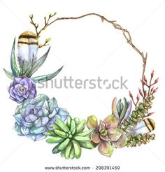Watercolor natural wreath with blue, green, purple succulents, branches and feather