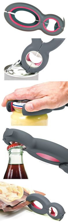 Six-in-One Kitchen Multi Tool // opens jars, bottles, pull-tabs, seals and bags - genius invention! #product_design