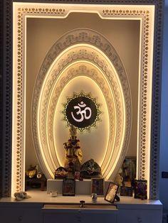 Inspiration for Indian Pooja Room, Puja Room. Home Temple, via Pooja Room Design, Pooja Rooms, Floor Design, Temple Design For Home, Prayer Room, Room Door Design, Pooja Room Door Design, Living Room Designs, Temple Room