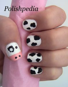 I could practically here my nails mooing with this design!    Watch My Video Tutorial @ http://www.polishpedia.com/fuzzy-cow-nail-art.html