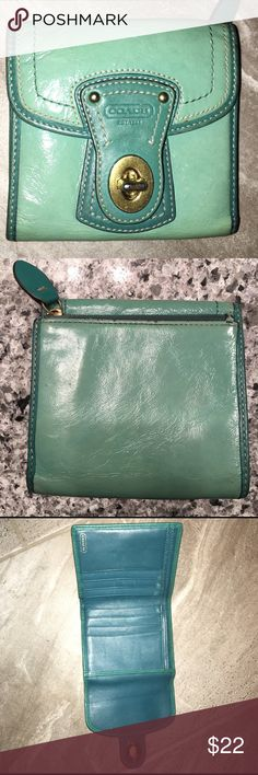 COACH wallet COACH leather Wallet -turquoise color   Good condition. Some chips on leather near zipper(see pic) Coach Bags Wallets