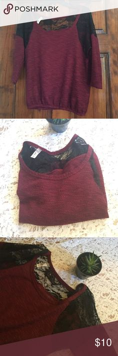 Slouchy Lace Shoulder shirt Slouchy lace shoulder shirt and lace back. Maroon and black. Size large but fits medium. Bella D Tops Blouses