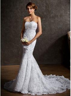 Wedding Dresses - $276.99 - Trumpet/Mermaid Sweetheart Chapel Train Satin Lace Wedding Dress With Beading  http://www.dressfirst.com/Trumpet-Mermaid-Sweetheart-Chapel-Train-Satin-Lace-Wedding-Dress-With-Beading-002001336-g1336