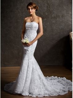 Wedding Dresses - $276.99 - Trumpet/Mermaid Sweetheart Chapel Train Satin Lace Wedding Dress With Beading  http://www.dressfirst.com/Trumpet-Mermaid-Sweetheart-Chapel-Train-Satin-Lace-Wedding-Dress-With-Beading-002001336-g1336