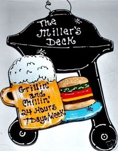 8x11 DECK Personalized NAME Sign BBQ Grill by 3CraftyMillers