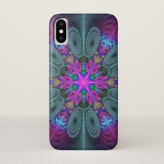 Mandala From Center Colorful Fractal Art With Pink iPhone X Case - modern style idea design custom idea