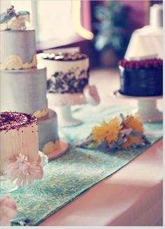 Instead of one big wedding cake, how about a bunch of different small cakes?