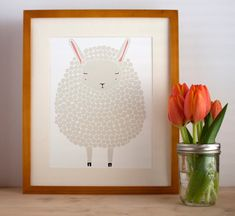 Gray Sheep Illustration Nursery Art Children Decor by Gingiber. I need this one to go with the black one!