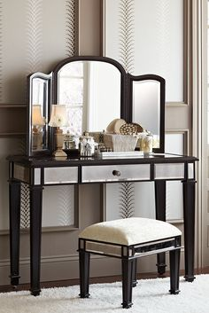 As glamorous as any star from Hollywood's Golden Era, yet as practical as we can make it, our Pier 1 exclusive Hayworth Vanity is all about functional fashion. It easily serves as a dressing table or small desk. Add the folding mirror, available separately, and you have the perfect buddy picture.