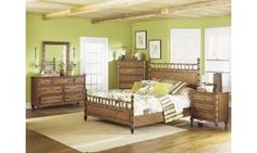 Magnussen Palm Bay 4pc King Size Poster Bedroom Set in Toffee Finish