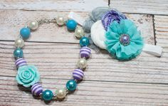 Orchid Dreams - chunky necklace in aqua, purple and white with optional coordinating headband by SoTweetDesigns, $12.50+