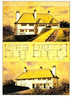 C.F.A. Voysey Architechture Postcard: Arts & Crafts House for H.G. Wells, 1899  | eBay