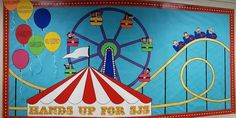 34 Super Ideas for music theme preschool bulletin boards Carnival Bulletin Boards, Circus Theme Classroom, Birthday Bulletin Boards, Preschool Bulletin Boards, Birthday Board, Preschool Classroom, School Carnival, Carnival Themes, Carnival Birthday