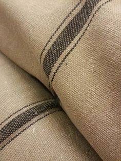 Reproduction Vintage French Grain Sack Fabric By-The-Yard - Tan Fabric w/3 Black Stripes