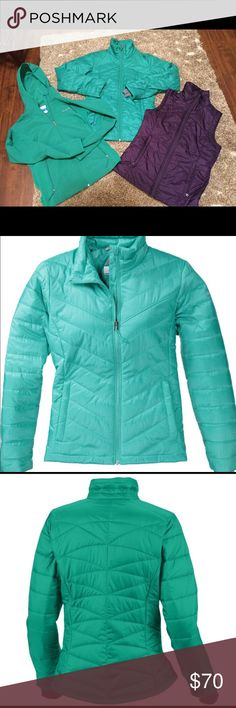 Lot Columbia Omni Heat Jacket, Vest, Raincoat Sz S Awesome lot, all used only a few times on vacation washed from non smoking home. Size small ladies. Green Omni heat coat, purple Omni heat vest, lightweight rain jacket. Retail for all 3 is $250! Columbia Jackets & Coats Puffers