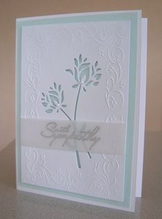 Die cut Memory Box flower from white cardstock panel; then dry emboss panel in Cuttlebug folder. Add sentiment on vellum. Layer onto cored cardstock then white card base. Hand Made Greeting Cards, Making Greeting Cards, Greeting Cards Handmade, Z Cards, Card Tags, Cool Cards, Memory Box Cards, Decoupage, Embossed Cards