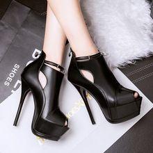 Moda Sapatos de Ultra Saltos Altos das Mulheres Bombas Peep Toe Plataforma Gladiador Feminino Saltos altos Bloquear Decoração(China)