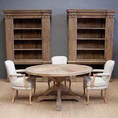 SE-1233-24-OP4 Mesa redonda madera envejecida (150x150x78) Chalk Paint, Bookcase, Shelves, Table, House, Room, Furniture, Home Decor, 30