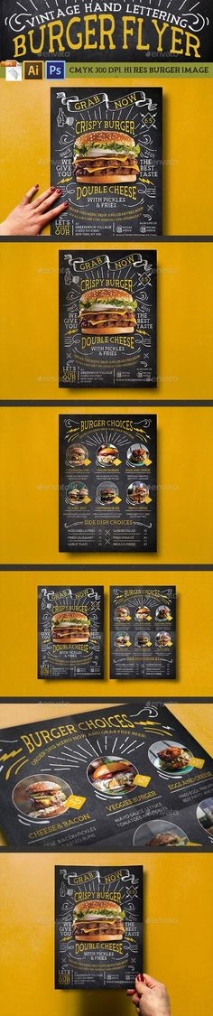 Buy Vintage Hand Lettering Burger Flyer by Bluerobindesignshop on GraphicRiver. A mix of vintage hand lettering style with burger: Vintage Hand Lettering Burger Flyer! This casual and fun flyer con. Restaurant Vintage, Burger Restaurant, Restaurant Menu Design, Graphisches Design, Flyer Design, Print Design, Layout Design, Menu Original, Burger Menu